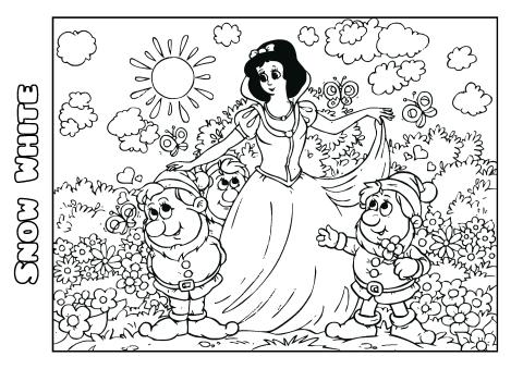 Snow White 1 coloring book template, How to print a Snow
