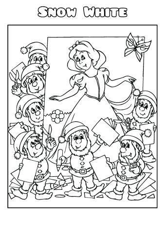 Snow White 2 coloring book template, How to print a Snow
