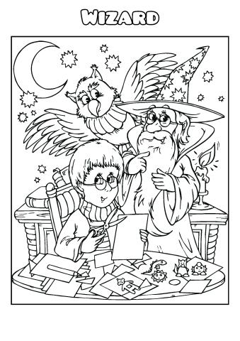 Wizard coloring book template, How to make a Wizard