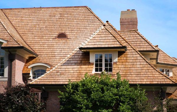 Shake Shingles on a Home with Brick Siding