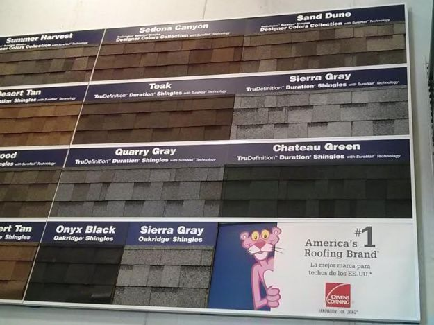 Owens Corning Roofing Shingles Display
