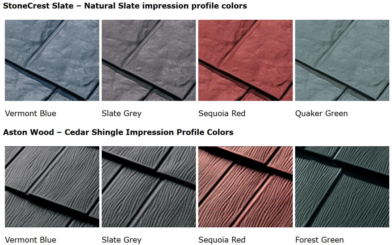 Examples of steel shingle colors