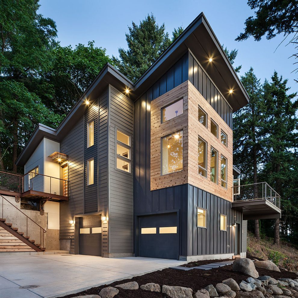 Modern metal siding on a house