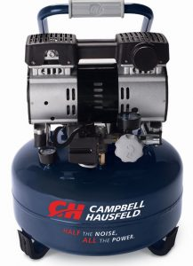 The pancake air compressor model is available with a 6-gallon tank capacity.