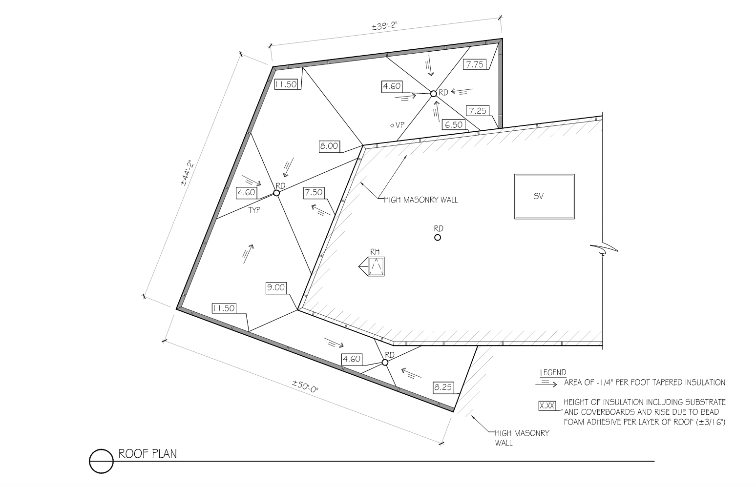 DETAIL 4: This roof plan (with the insulation heights noted) illustrates how insulation—especially tapered insulation—can rise on a wall.