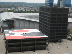 Artist Alexander Calder created the 127-square-foot red, black and white mural painted on the roof of the Kent County Administration building.