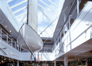 Sloped glass in a commercial setting allows for natural lighting. PHOTO: Wasco Skylights