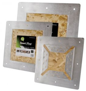 The Smart Plug Roof Patch covers roof holes left by box, slant-back, and turbine vents when converting from static vents to ridge ventilation.