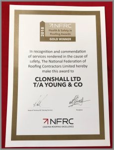 NFRC Health & Safety in Roofing Awards 2018 Certificate