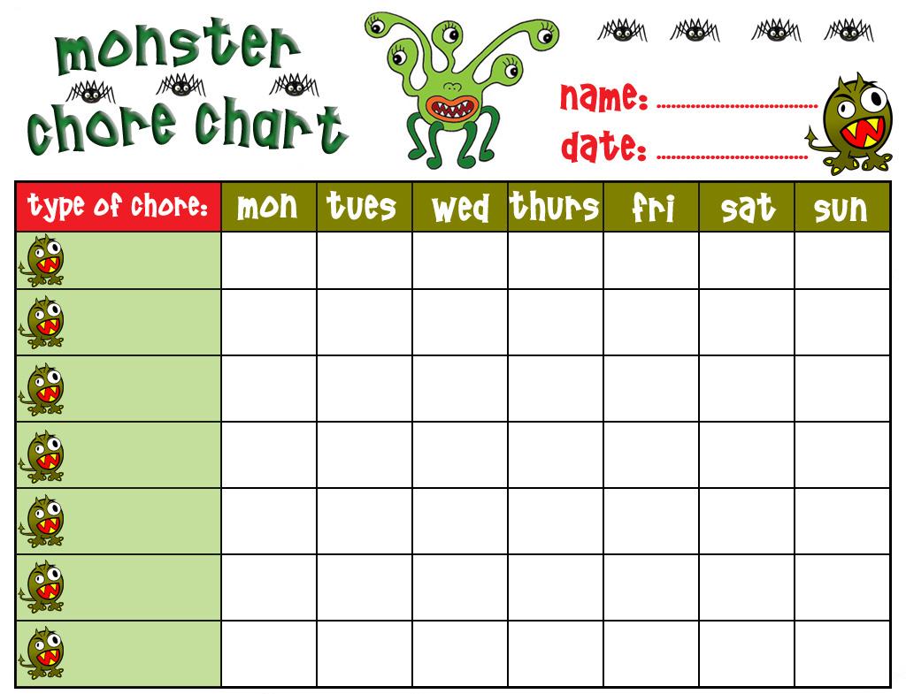 Monster Chore Chart