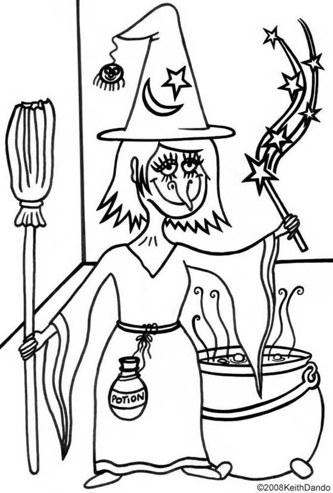 Printable Colouring Halloween Witch Rooftop Post