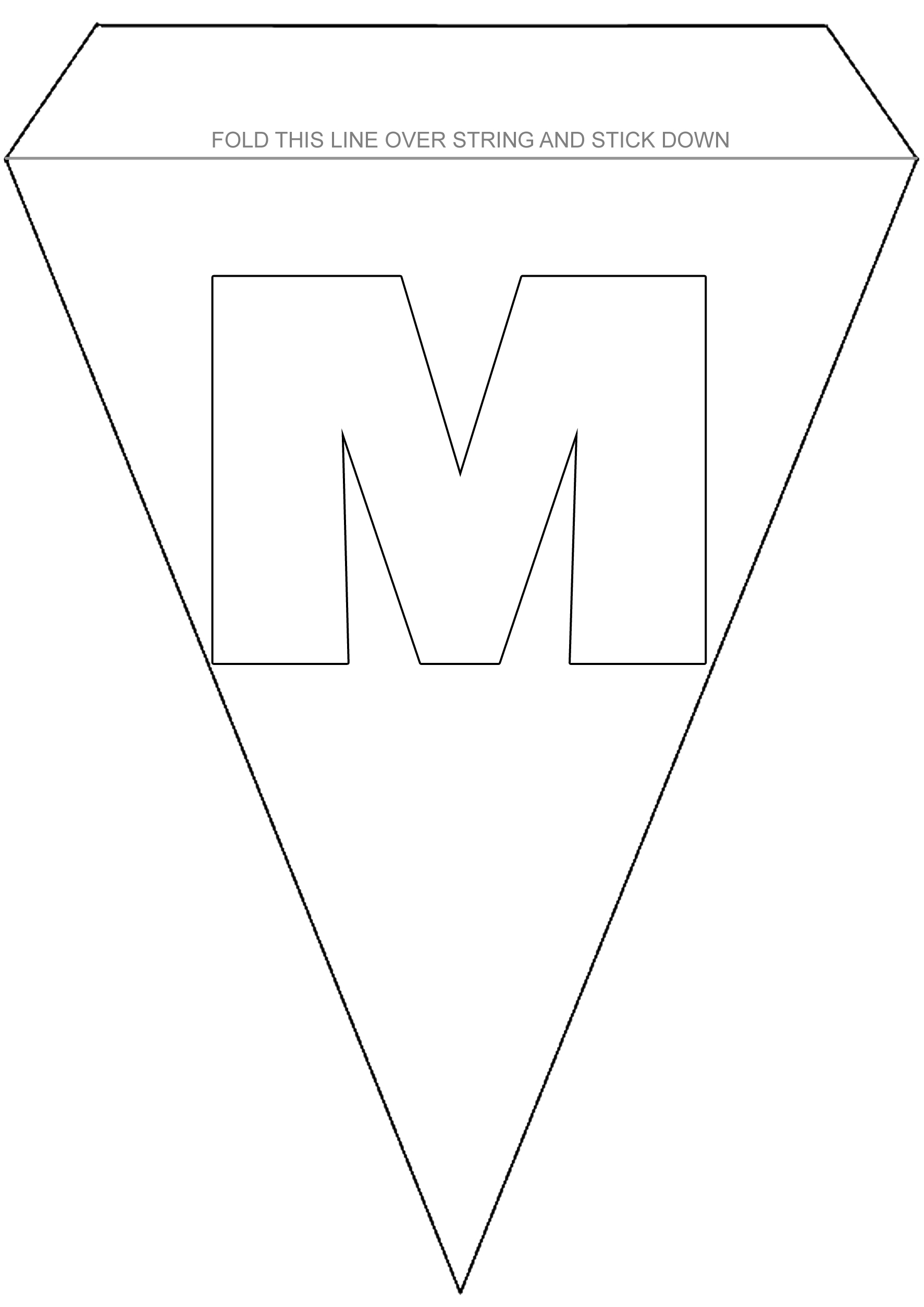 Alphabet Bunting To Colour Letter M