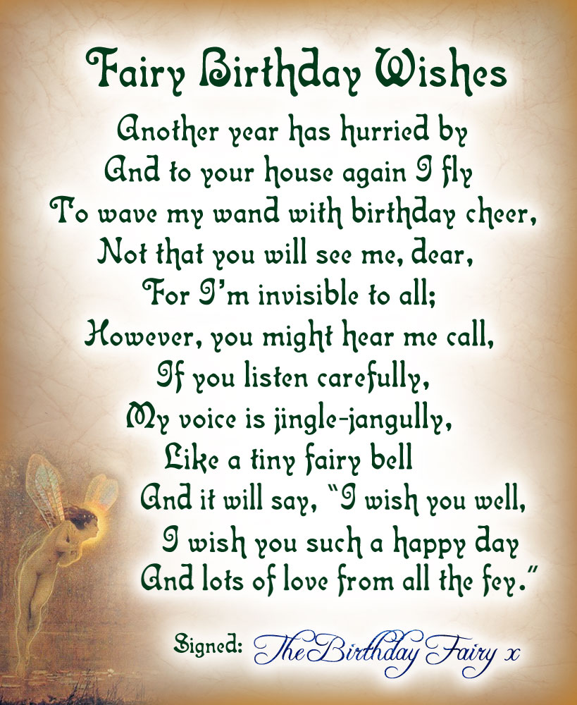 Fairy Birthday Wishes Poem Rooftop Post Printables