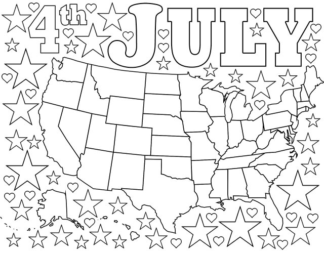26th July Coloring Page: Map of USA with Stars and Hearts  Rooftop