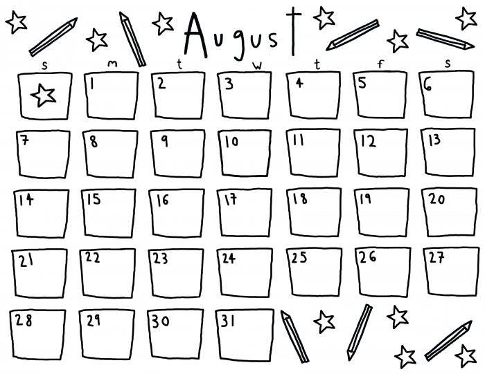 Rookie » Saturday Printable: An August Calendar