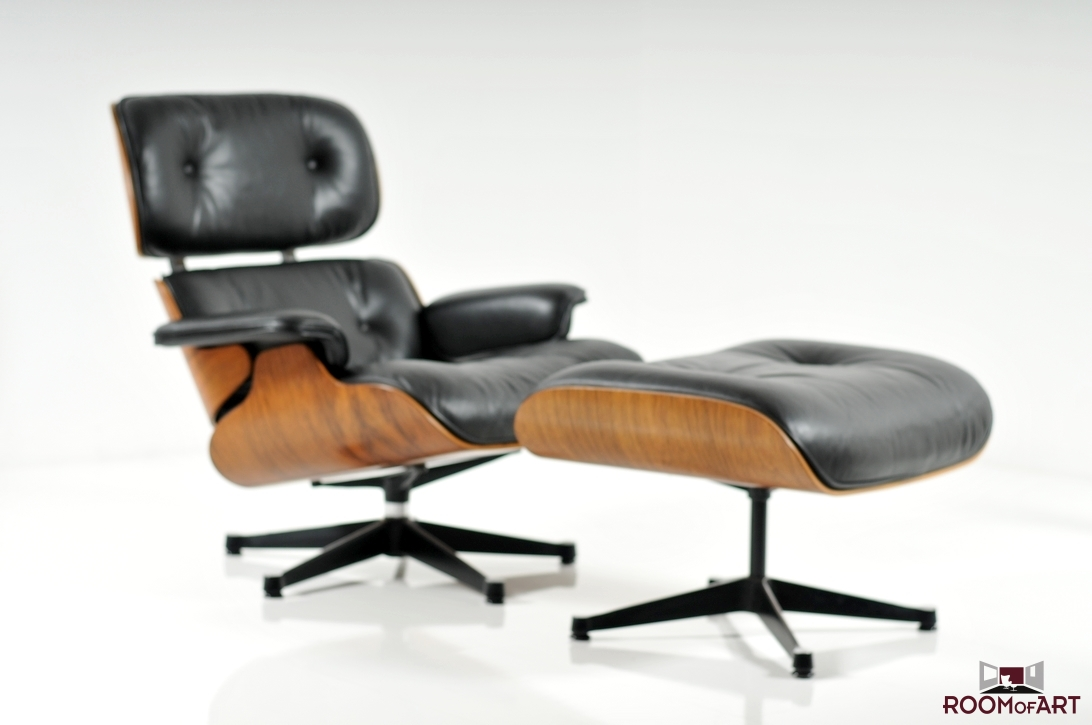eames style lounge chair and ottoman rosewood black leather convert to stool & - room of art