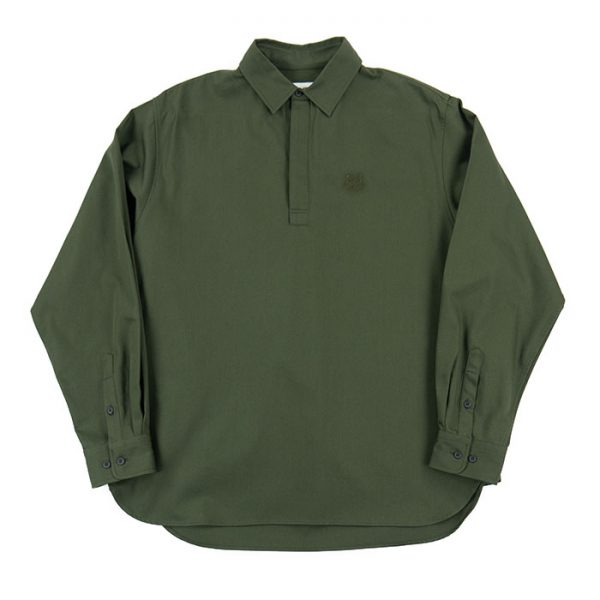 Kenzo Long Sleeve Tiger Crest Polo Shirt in Olive Room 26 Carlisle
