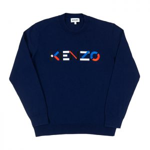 Kenzo Multicoloured Logo Classic Jumper in Navy Blue Room 26 Carlisle