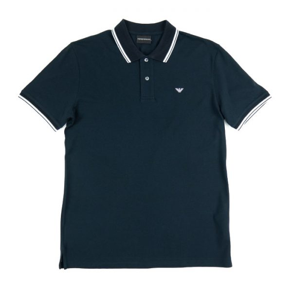 Emporio Armani SS Striped Trim Polo in Blu Navy Room 26 Carlisle