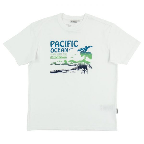 Napapijri SIRRE White Graphic Tee in White Room 26 Carlisle
