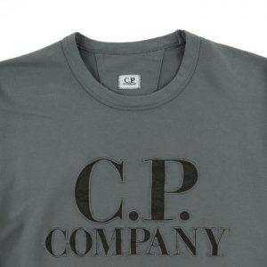 C.P. Company Light Fleece Logo Sweat in Gargoyle Room 26 Carlisle