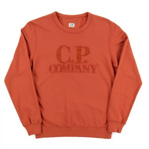 C.P. Company Light Fleece Logo Sweat in Burnt Ochre Room 26 Carlisle