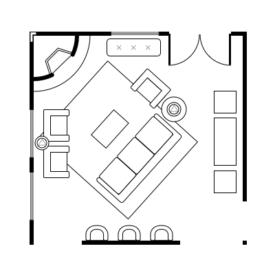 2.1 layout idea for square living room