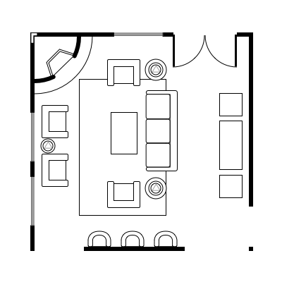 2.10 layout idea for square living room