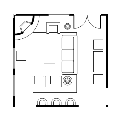 2.5 layout idea for square living room