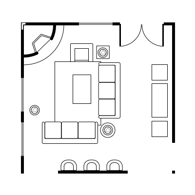 2.6 layout idea for square living room