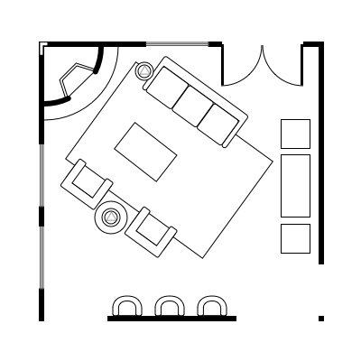 2.7 layout idea for square living room