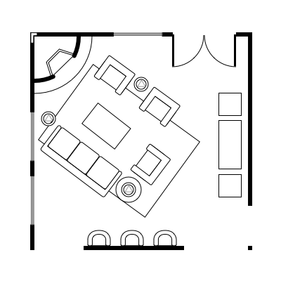 2.8 layout idea for square living room