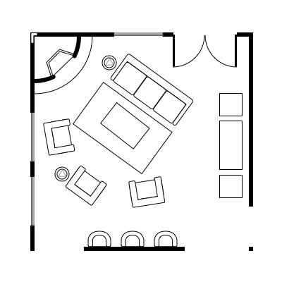 2.9 layout idea for square living room