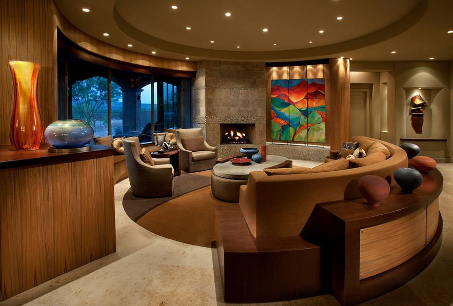curved sofa, round living room