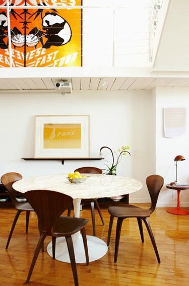 cherner chairs, cherner chair, tulip table, knoll
