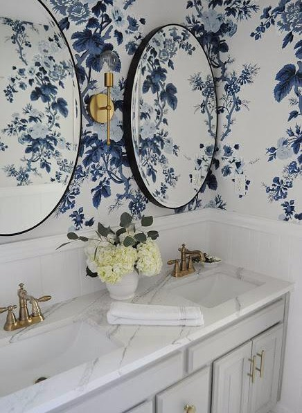 blue wallpaper, blue floral wallpaper, floral wallpaper, round black mirror, round black bathroom mirror, bathroom remodel