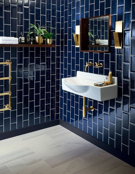bathroom tile, bathroom tile ideas, blue bathroom tile, subway tile, blue subway tile, bathroom subway tile, floating vanity, floating bathroom vanity