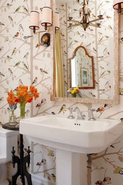 birds wallpaper, bird wallpaper, birds and tree branches wallpaper, pedestal sink, bathroom wallpaper