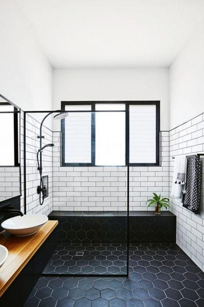 dark grout, subway tile grout, bathroom tile, bathroom subway tile, white subway tile, hexagon tile