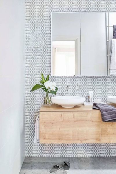 grout, penny tile grout, bathroom tile, penny tile, floating vanity, floating bathroom vanity, vessel sink