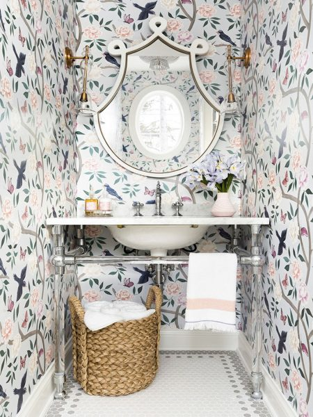 bathroom remodel, wallpaper, bathroom wallpaper, floral wallpaper