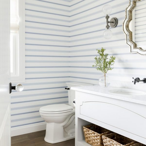 blue wallpaper, striped wallpaper, blue stripes wallpaper, bathroom wallpaper