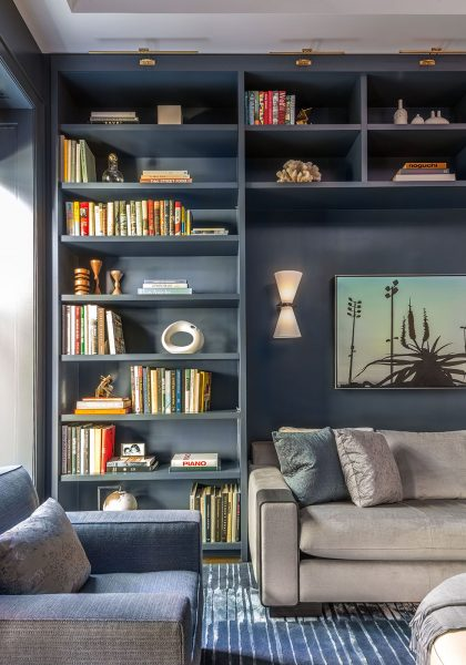 blue living room, blue home study, blue home library, blue built ins