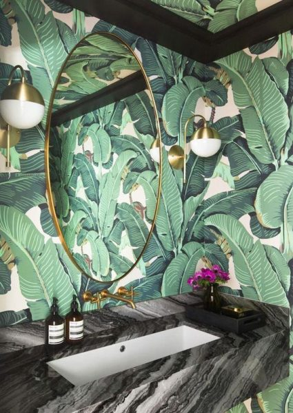 bathroom wallpaper, palm leaf wallpaper, green wallpaper, nature wallpaper, plants wallpaper, bathroom vanity, gold mirror, gold light sconces