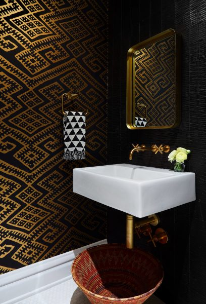 dark wallpaper, black and gold wallpaper, gold wallpaper, bathroom wallpaper, floating sink, floating bathroom sink, floating bathroom vanity, gold bathroom hardware