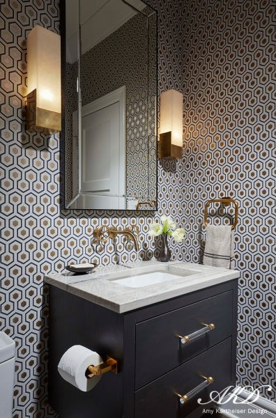 bathroom wallpaper, geometric wallpaper, blue vanity, blue bathroom vanity