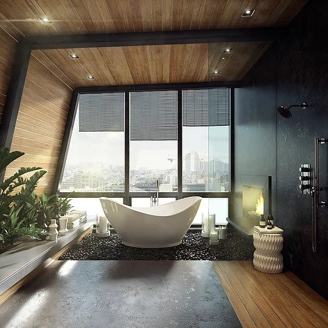 free standing tub, asymmetrical tub, asymmetrical free standing tub, bathroom remodel, luxurious bathrooms