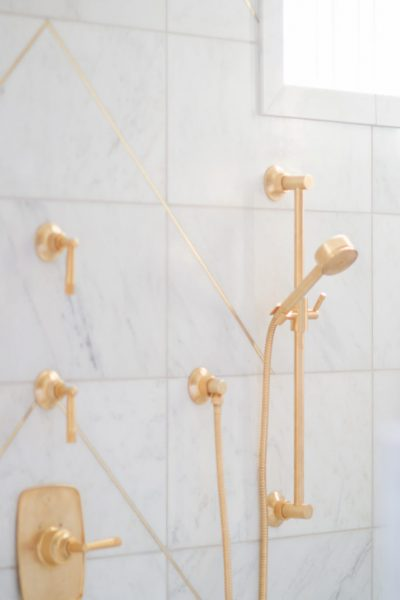 bathroom remodel, brass showerhead, gold showerhead