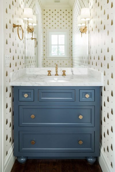 bathroom wallpaper, gold wallpaper, white and gold wallpaper, blue vanity, blue bathroom vanity