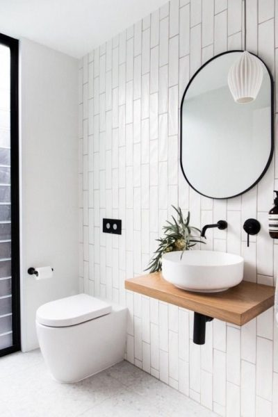 vessel sink, matte black hardware, modern bathroom